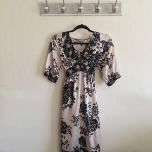 Black & White komino style silk dress/ Size Small